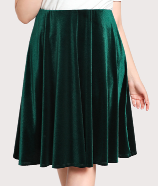 Green velvet Skirt
