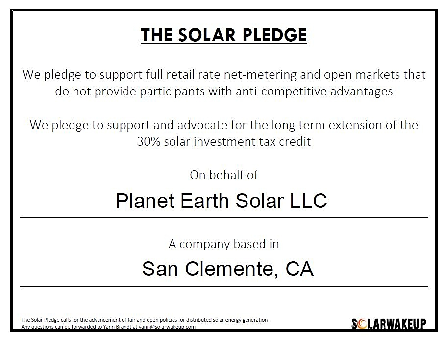 Solar Pledge Planet Earth Solar