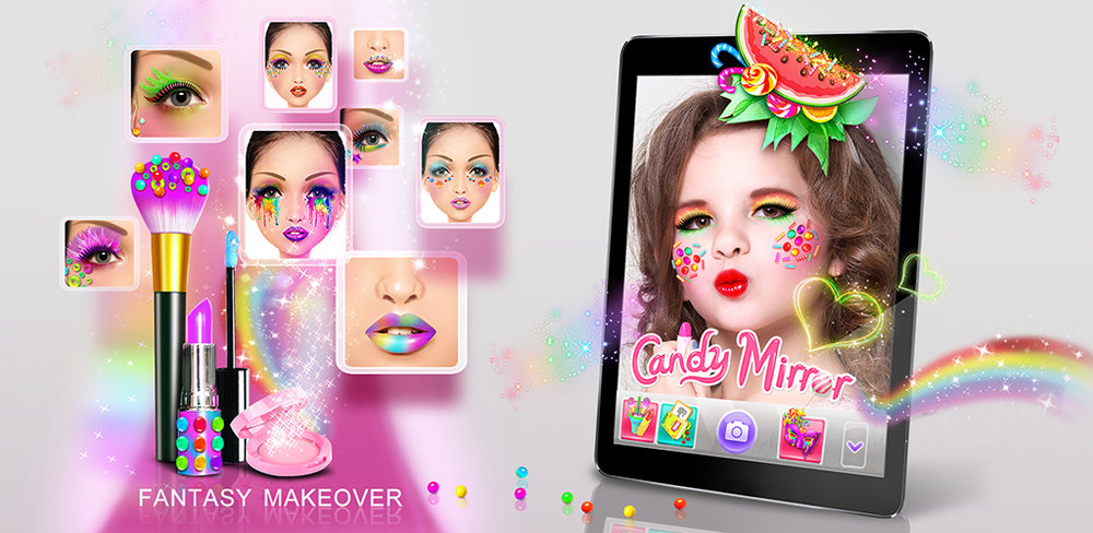 Candy Mirror! Fantasy Makeover Give yourself a virtual makeover on your phone or tablet with the new Candy Mirror-Fantasy Makeover app from Bear Hug!