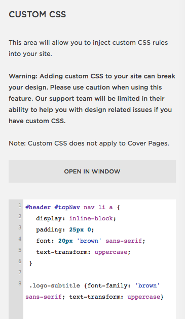 The CSS coding used to add Brown font to Tess's site