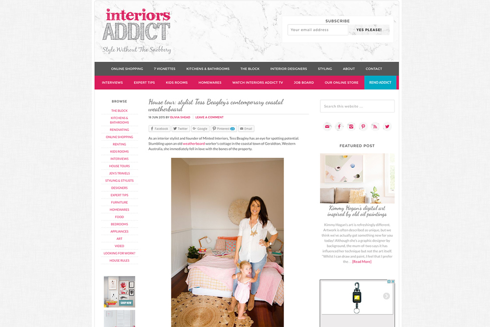 Blog Feature In Interiors Addict An Australian Interior Design Run By Jen Bishop