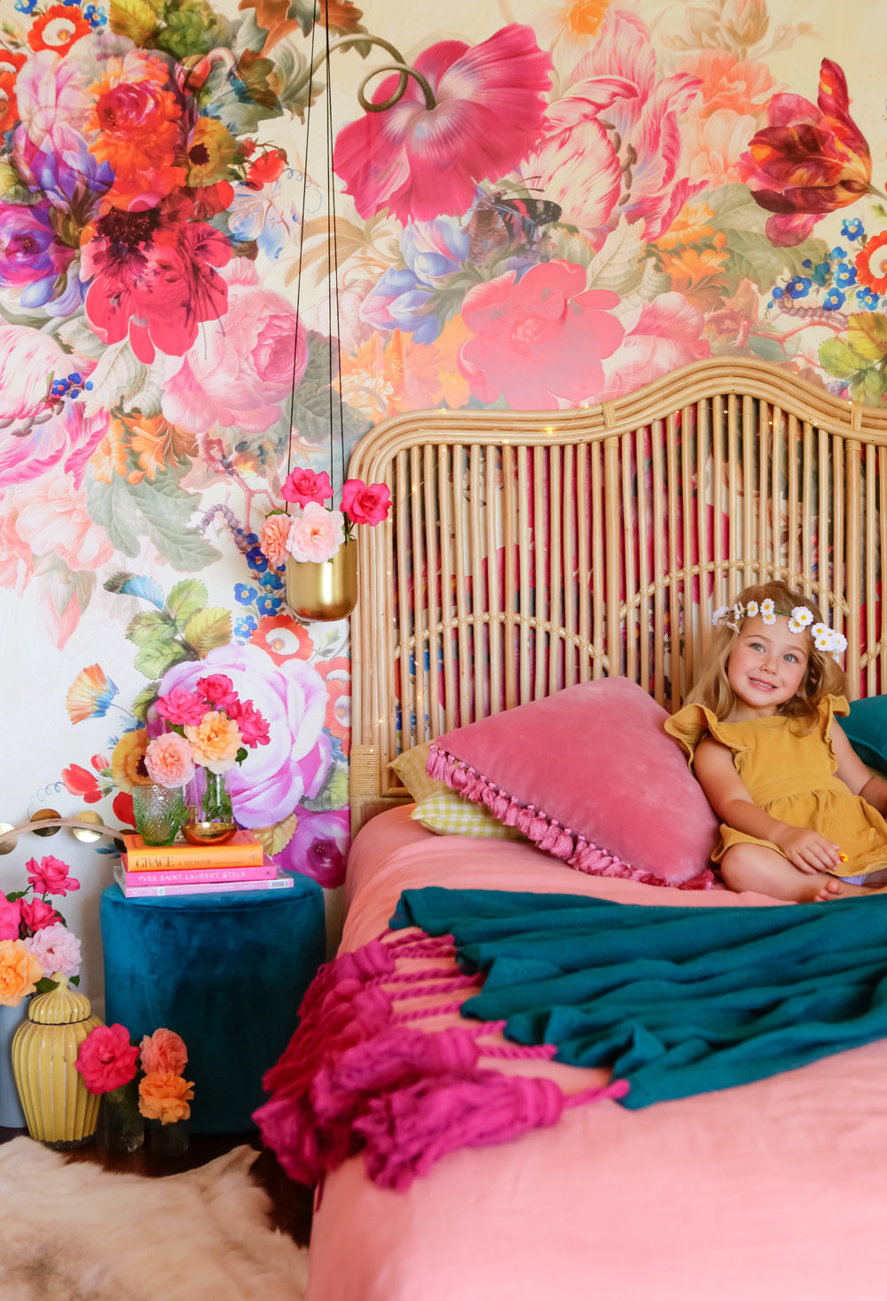 Cane Bedhead, mural wallpaper, velvet and Jemima wearing a 70's inspired corduroy dress pictured in a product styling shoot in my own home - how's that for channelling a 70's vibe! Bedhead by Naturally Cane Furniture, image by Carrie Young Photography, Styling by me.