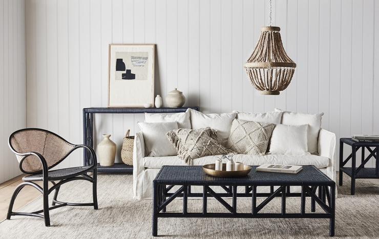 Avery Coco Occasional Chair, Avery Platform Coffee Table, Avery Platform Side Table and Avery Platform Console, Balthazar Beaded Pendant Light all available through Minted Interiors email tess@mintedinteriors.com Image: GlobeWest