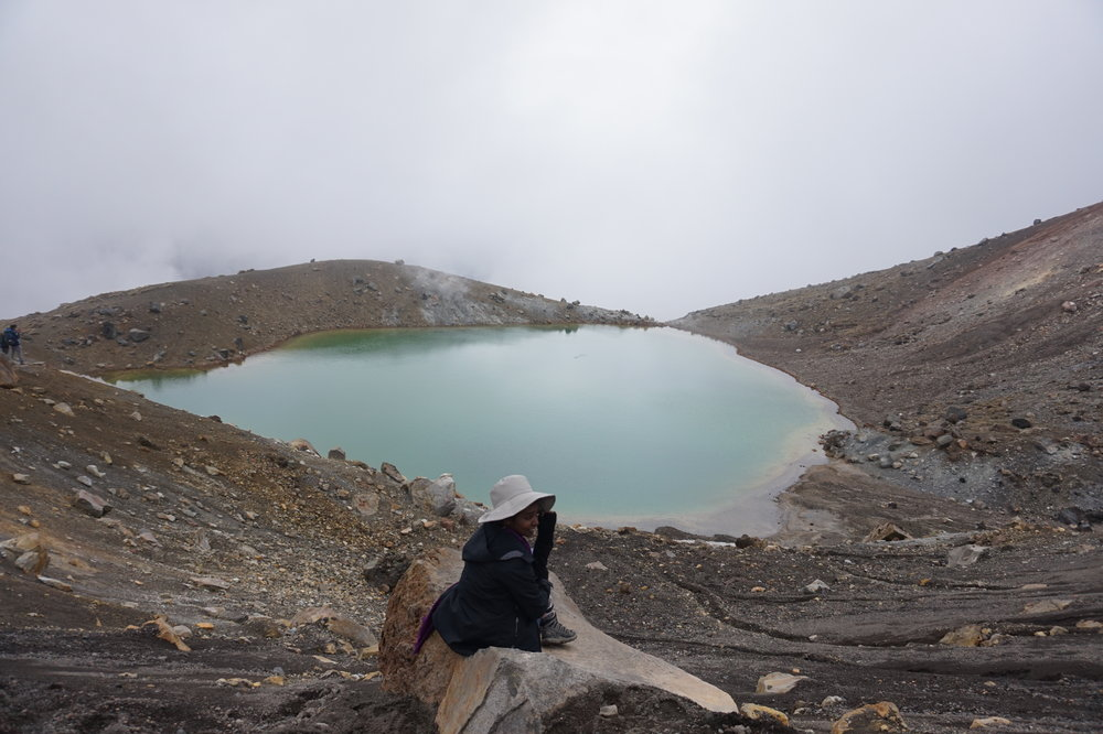 Salwa Petersen Tongariro Alpine Crossing Emerald Lakes New Zealand.JPG