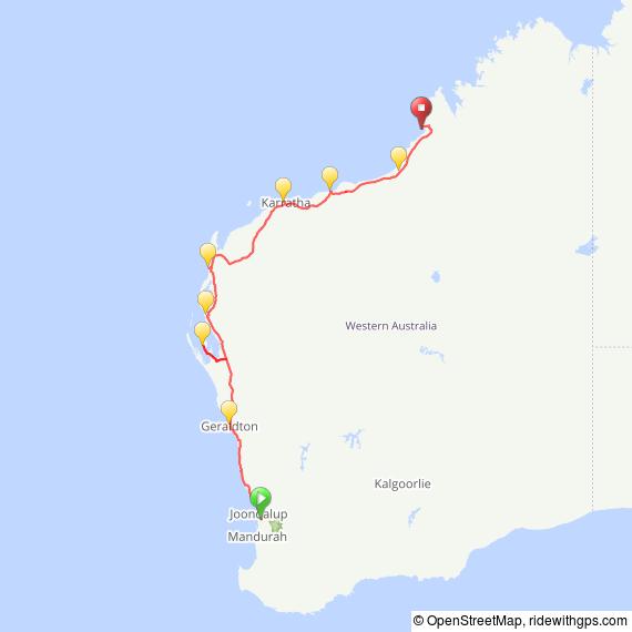 TourXOz 2017 Perth to Broome Route Map
