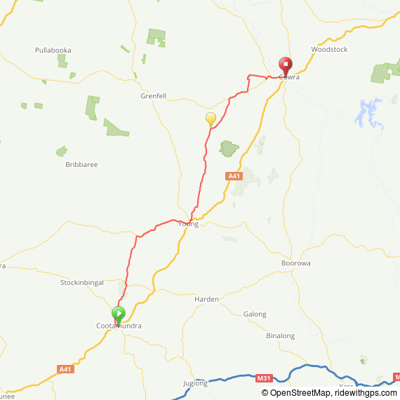 Route Map Day 2 Cootamundra to Cowra via Young