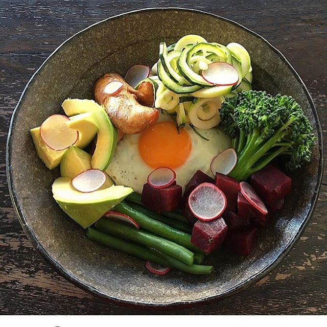 Macro bowl. Tamari chicken, avocado, pesto brown rice, zucchini, radish and egg. #macrobowl #alldaybreakfast 📷 @huiness