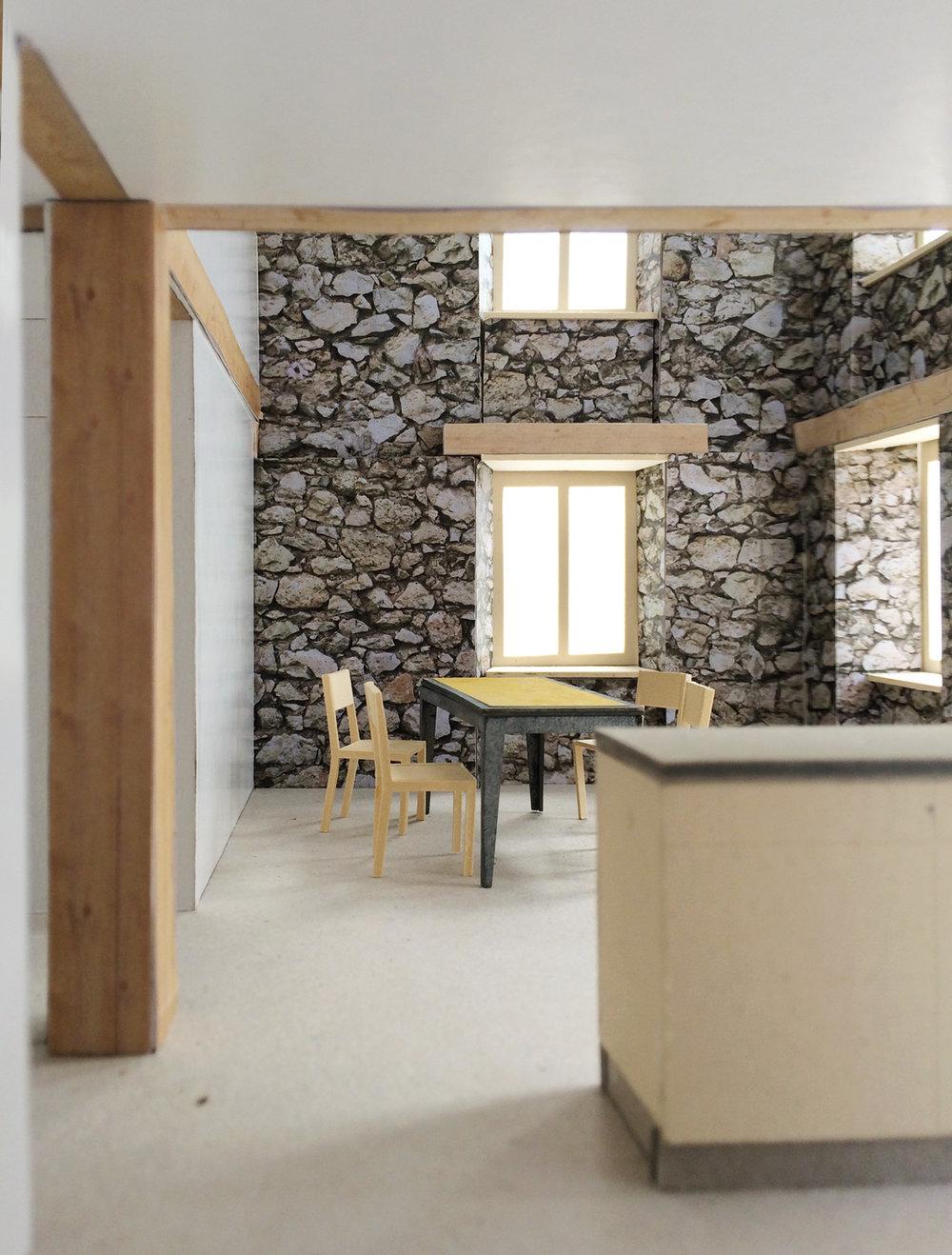 Küche und Essbereich im Innenraumodell