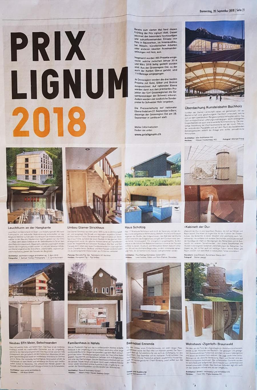 26. Sep 2018 -  Haus Schöfzig  - Prix Lignum