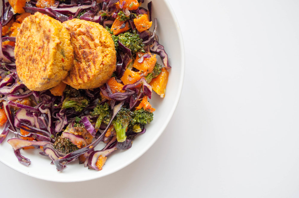 Spicy tuna cakes with butternut squash, cabbage, broccoli salad GFINC.jpg