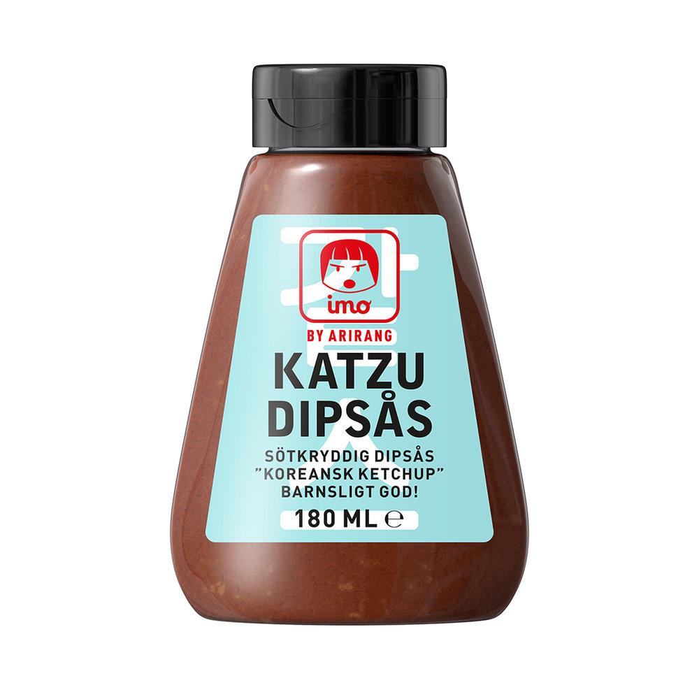 Katzu Dipsås - Allt du friterar eller grillar kan du dippa i Imo Katzu Dipsås, den klassiska såsen till panerat, friterat fläsk (donkatsu). God i pyttipanna!Ingredienser:Fermenterad sojasås (vatten, sojaböna, vete, salt, glukos-fruktossirap, konserveringsmedel E211, alkohol, lakritsextrakt, jästextrakt, sötningsmedel E955), glukos-fruktossirap, socker, tomatpuré, krydda, vitlök, vatten, äppeljuicekoncentrat, ättikssprit, arom.Näringsdeklaration per 100 gram:Energi 850 kJ/200 kcal, Fett <0,5 g (varav mättatfett <0,5 g), Kolhydrat 46 g (varav sockerarter 36,4 g), Protein 3,5 g, Salt 4,5 g.
