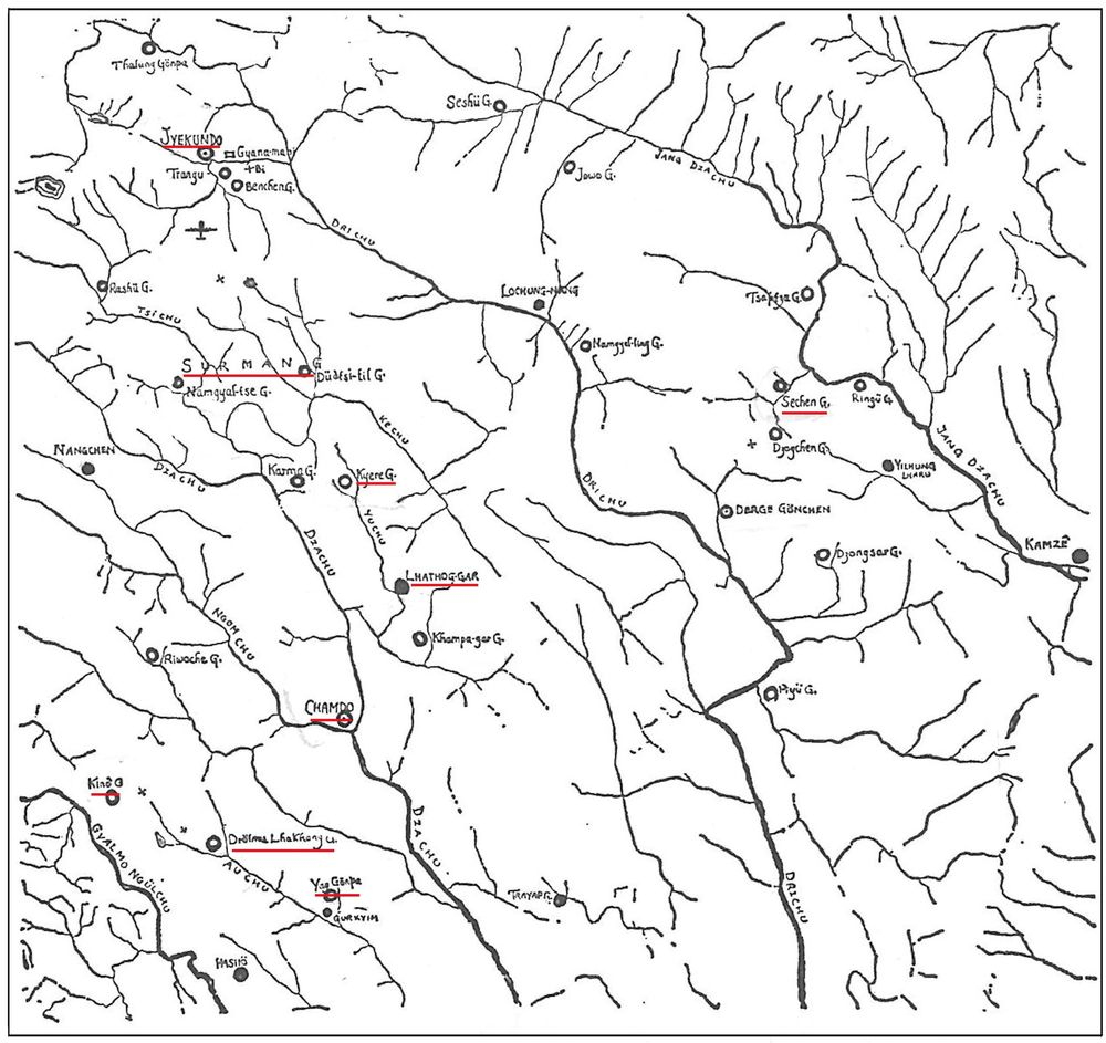 Kham/East Tibet map (Chapters 1-4). Red: chief places mentioned in narrative.