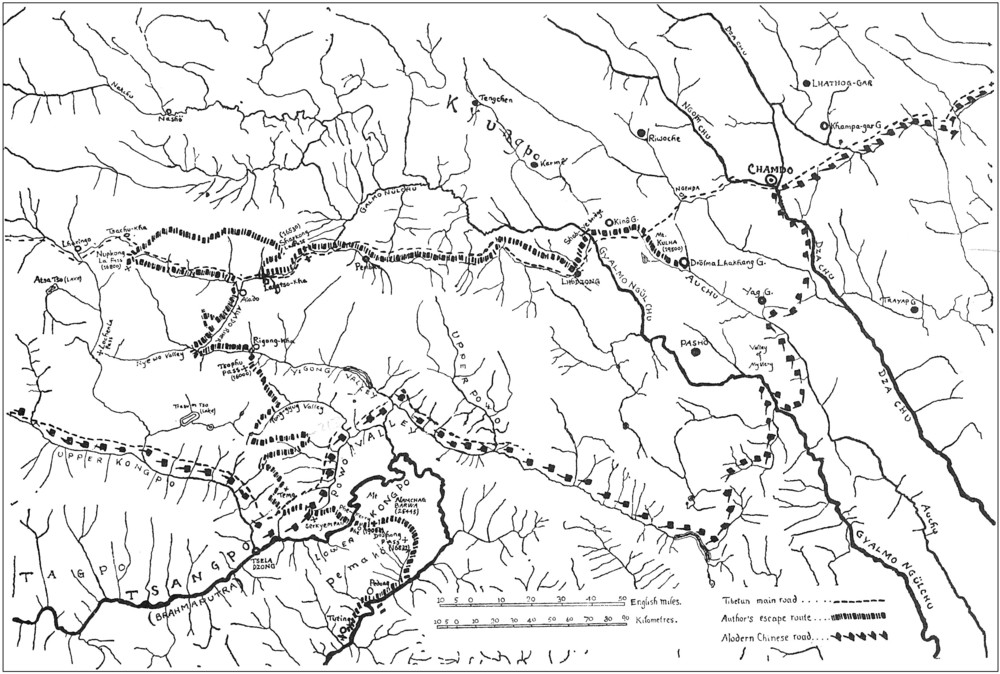 Route of the escape, from Drolma Lhakang Monastery (upper right) to Tuting (lower left).