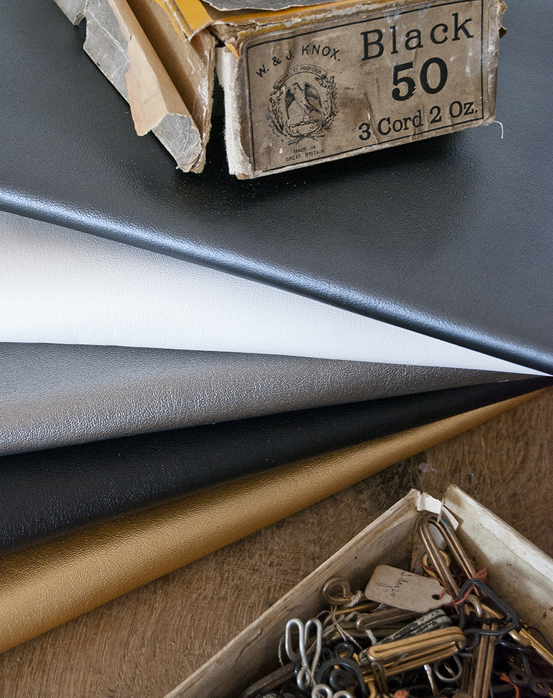Leatherette in a range of colours, metallics and different textures