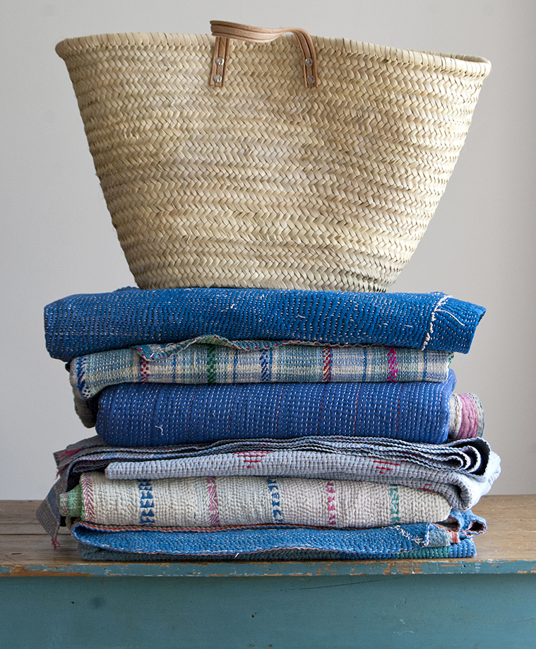 Kantha stitch blankets, baskets and rugs