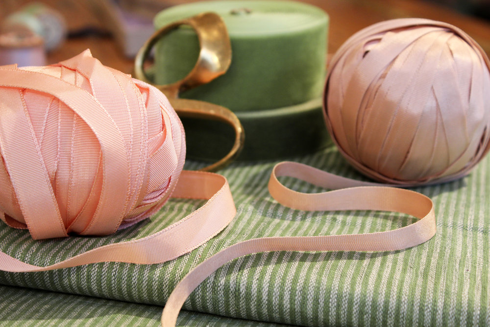 Naturally dyed silk ribbons, velvet ribbons and handwoven 'Khadi' cotton