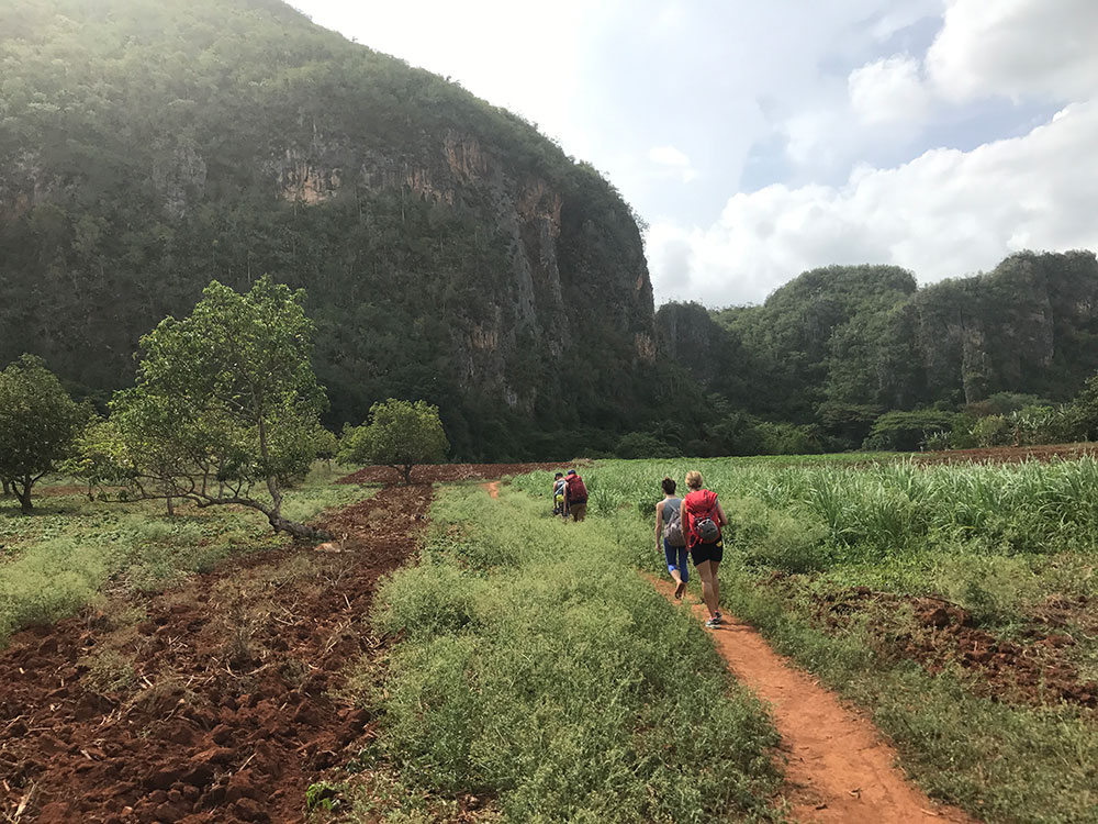 Hiking through Raul's Farm to Mogote del Valle, one of several rock climbing areas in Cuba.