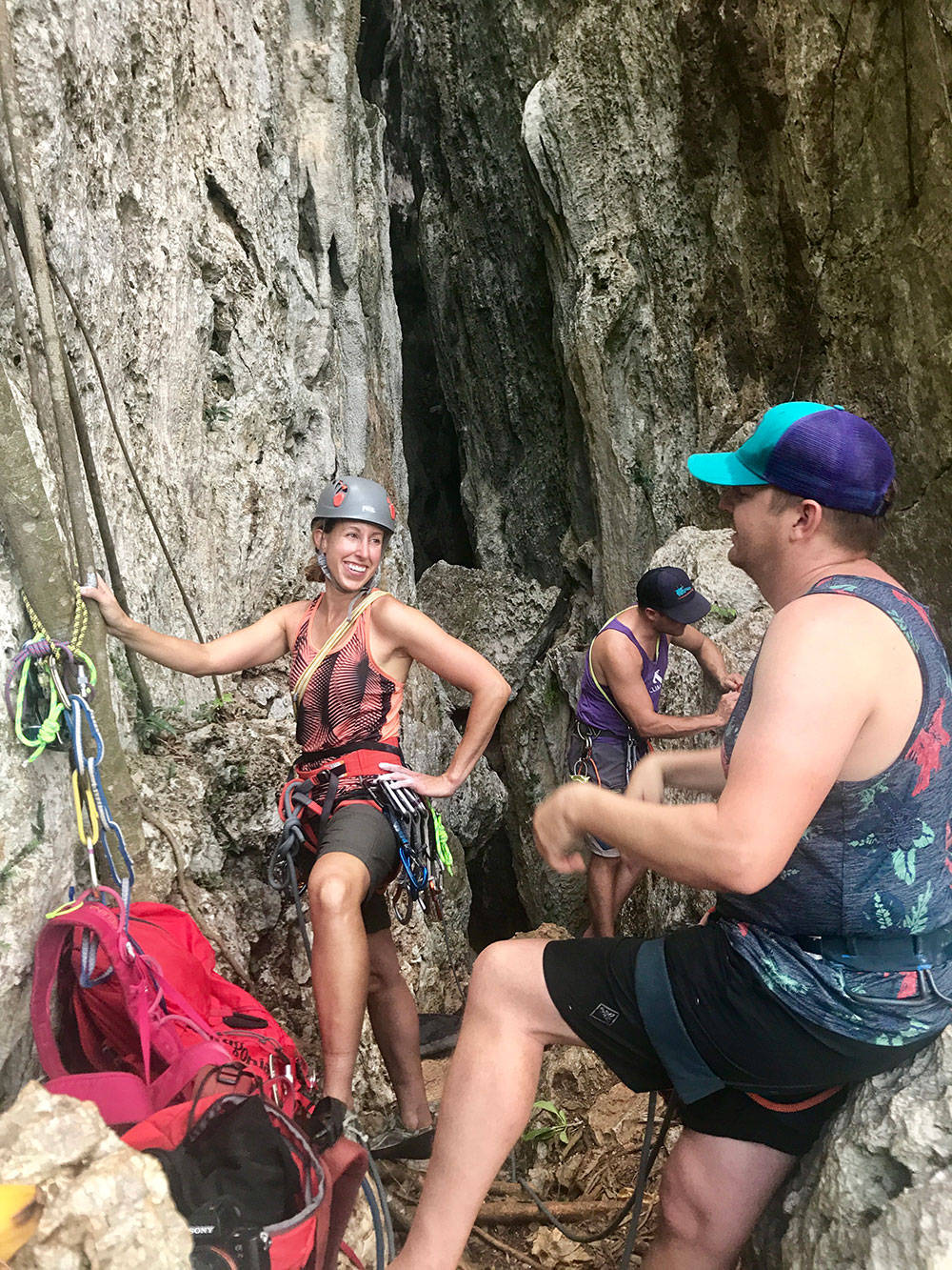 Sport climbing in Cueva Larga, in Mogote del Valle area of Cuba.
