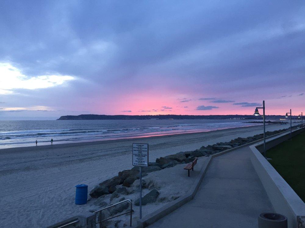 Sunset beach stroll by the Hotel Del Coronado.