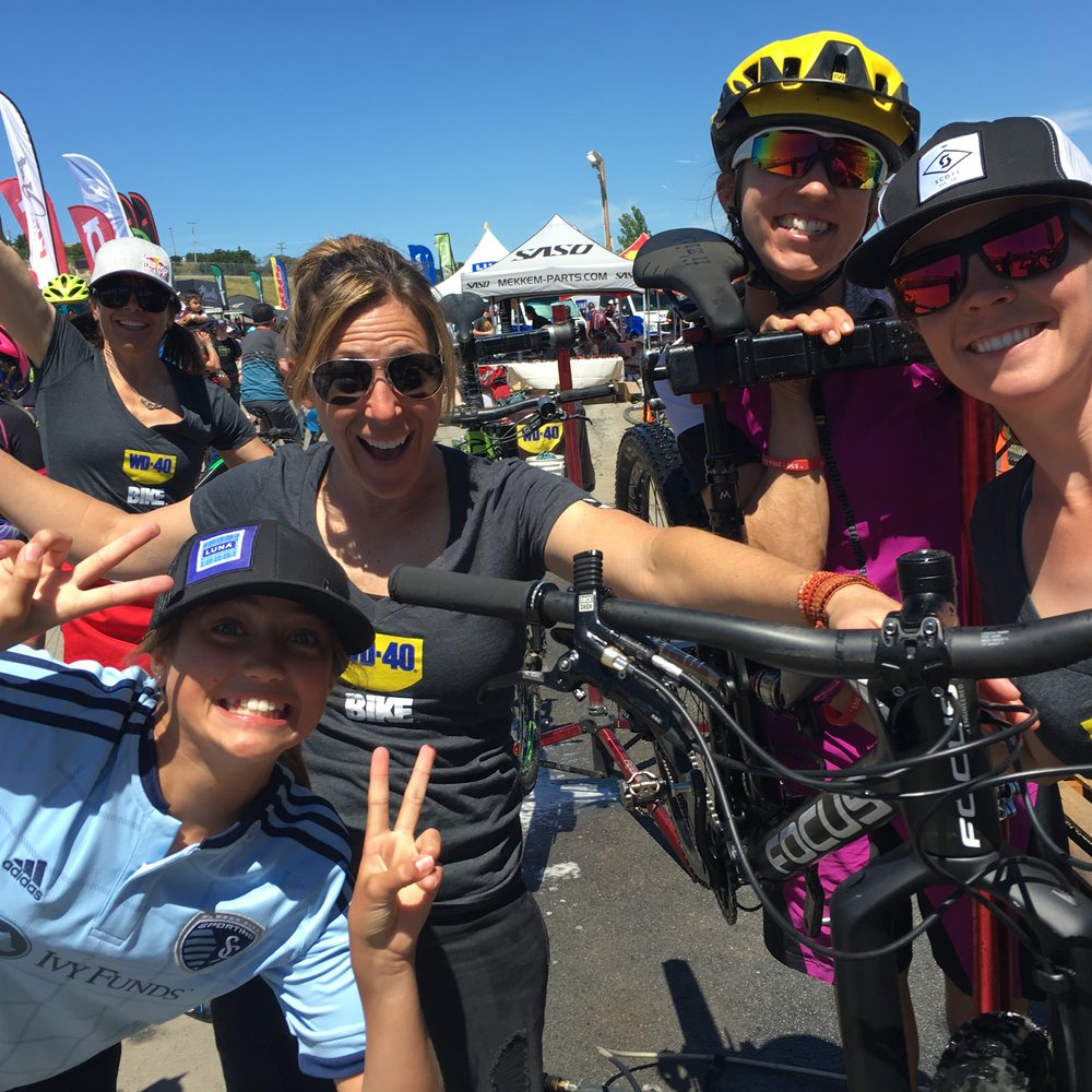 Janel Holcomb , Mavic brand ambassador, hanging at the Sea Otter Classic with WD-40 Bike and some fellow mountain biking pros.