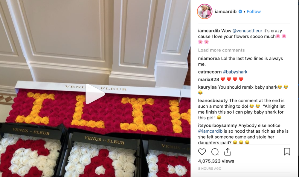 When rap superstar CardiB posts about her Venus Et Fleur delivery, she's driving sales. Big time. Hmmm…who wouldn't love some fresh cut flowers that last a year?!?