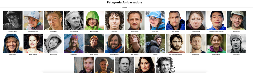 This is just a small sample of Patagonia's Brand Ambassadors, and just the climbers! They also have surfers, fly fishers, trail runners, skiers, snowboarders and Global Sports Activists.