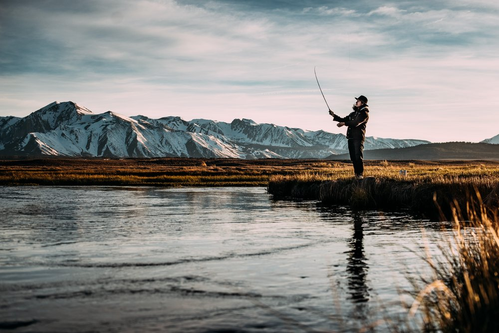 Fly fishing on the Owens River outside of Mammoth Lakes, CA.