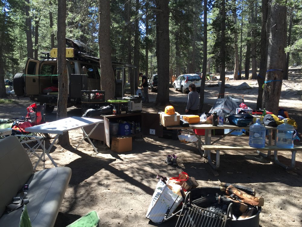 Settling into our campsite at Tuolumne Meadows, Yosemite National Park, CA.