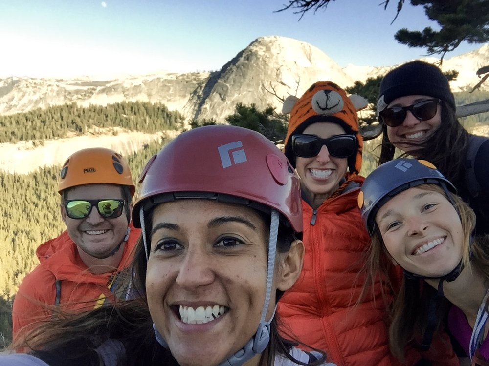 Our group on the summit of Daft Dome with Fairview Dome in the background. Tuolumne Meadows, Yosemite National Park, CA.