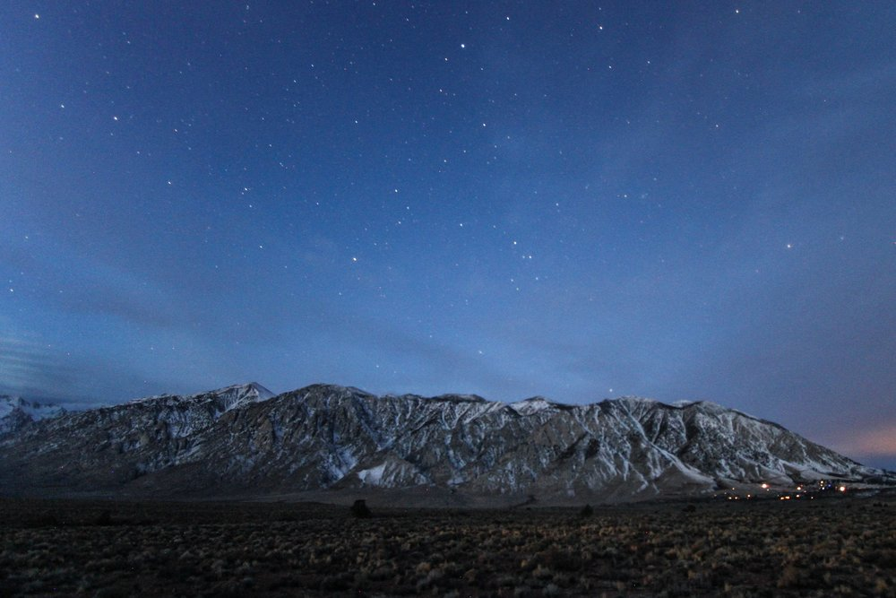 Mammoth Lakes at night, as seen from Wild Willy's Hot Springs.