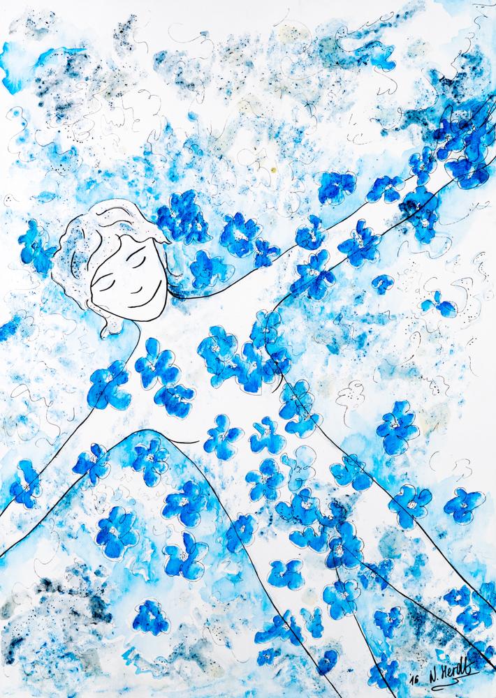Zeichnungsreise - Bild 4, 2016  50 x 70 cm, Pappwabenplatte grundiert, Aquarellstifte, Tuschestifte, Gummi arabikum (Lösung)