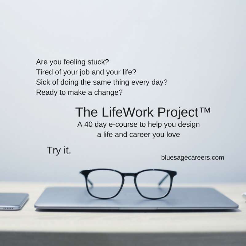 The LifeWork Project™ is a 40 day e-course to discover a life and career you love. Next class begins July 10.