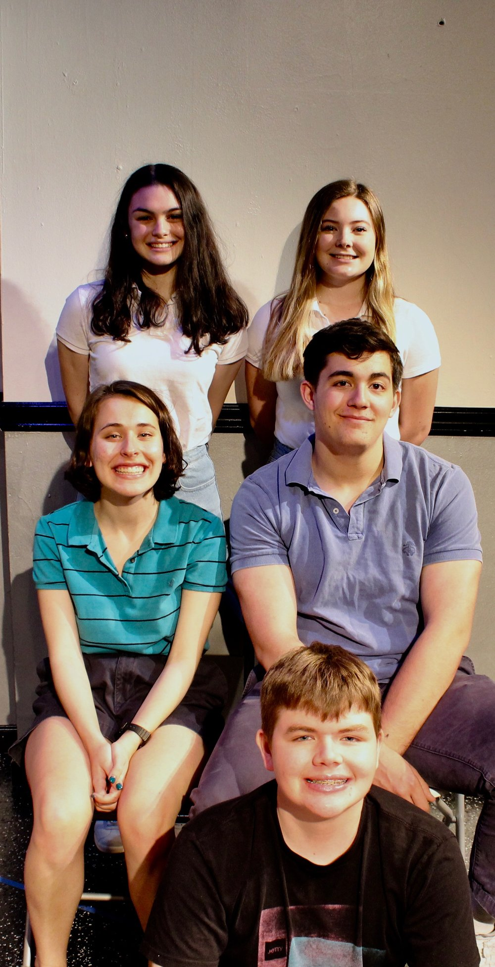 Clockwise from top left: Casey Rae Borella as Kiki, Caitlin Ladda as Sarah, Liam Gerard as Martin, Patrick Napolitano as Kurtz, Katie Kunka as Loony