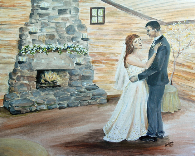 First Dance with Fireplace Background
