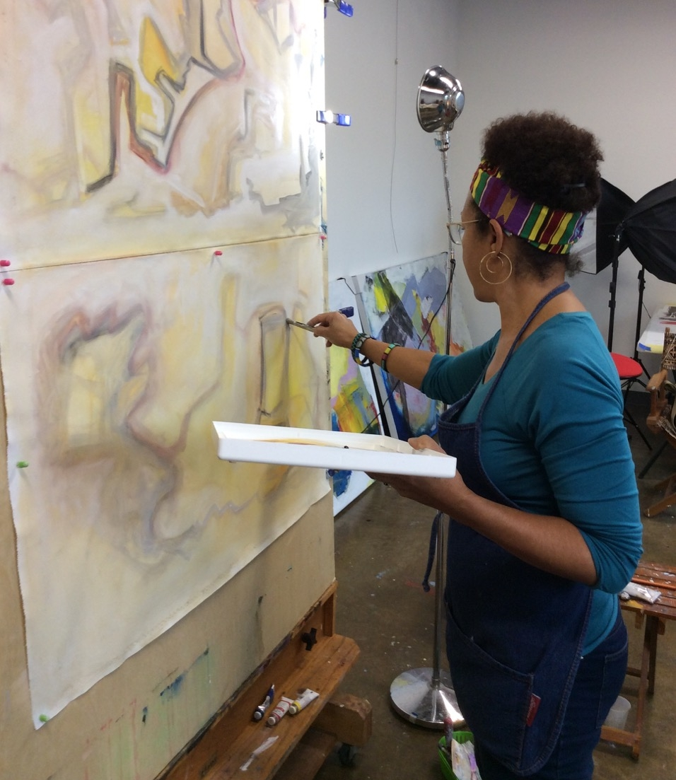 Barbara working out new abstracts in her studio at ClearWater