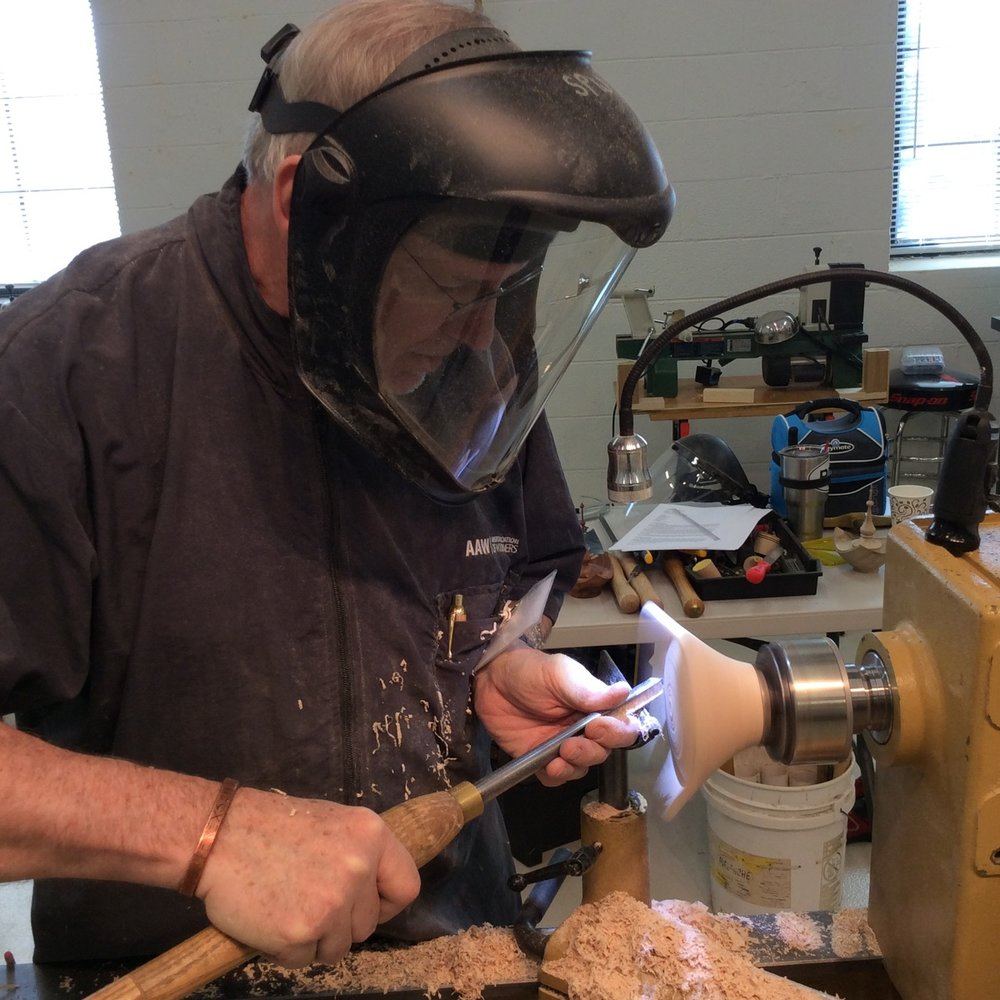 SPW Member Rick Erexson turns a bowl on the PowerMatic Club lathe