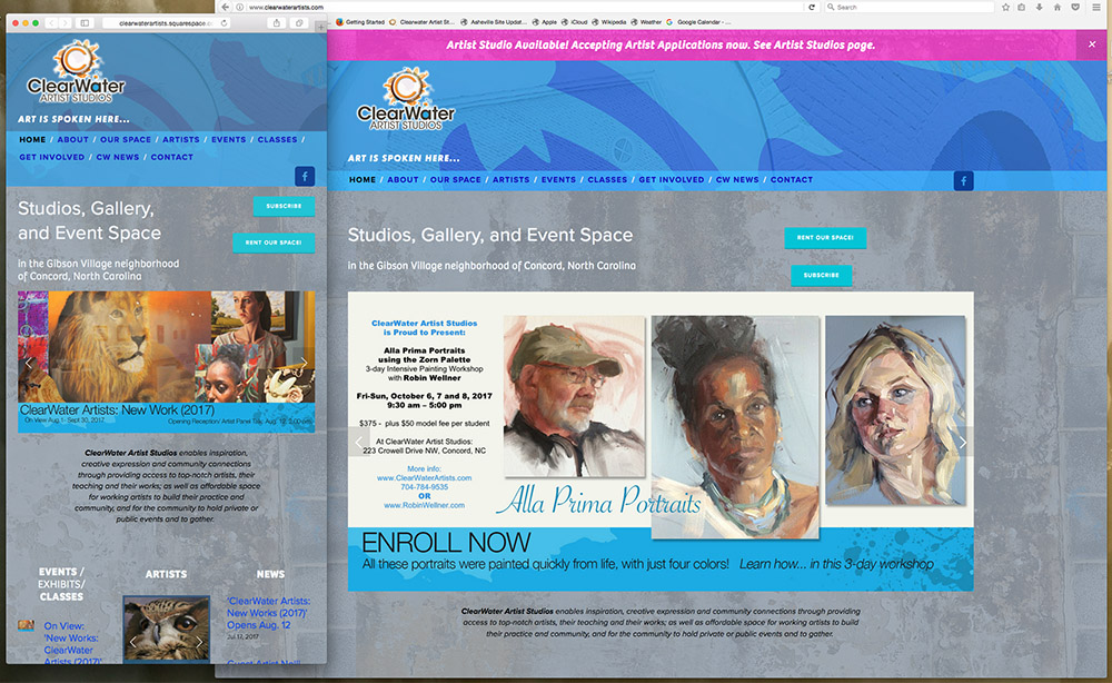 The new ClearWwaterartists.com homepage, shown in two different browsers and at two different sizes, This demonstrates the responsive Design, which adapts automatically to the size of the viewer's screen and platform.