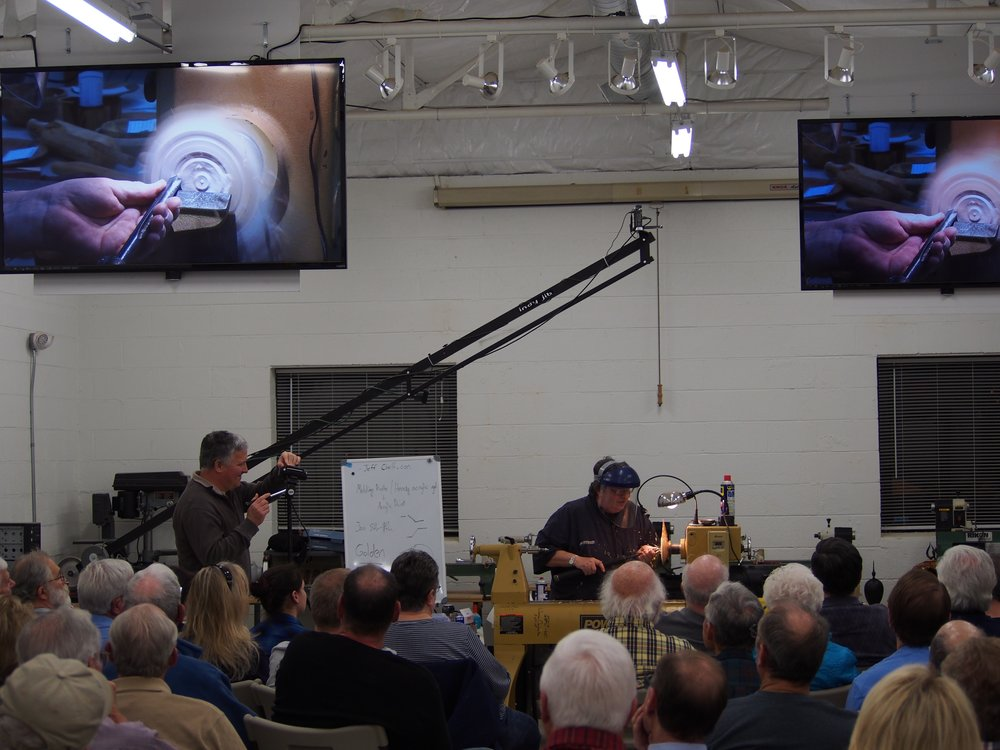 A typical monthly meeting with demonstrator showing a technique of interest.