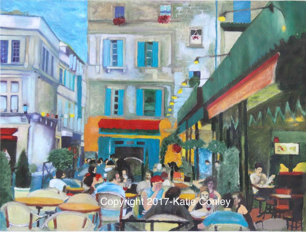 "Cafe in Arles  Oil on Canvas, 18""x 22""  2005"