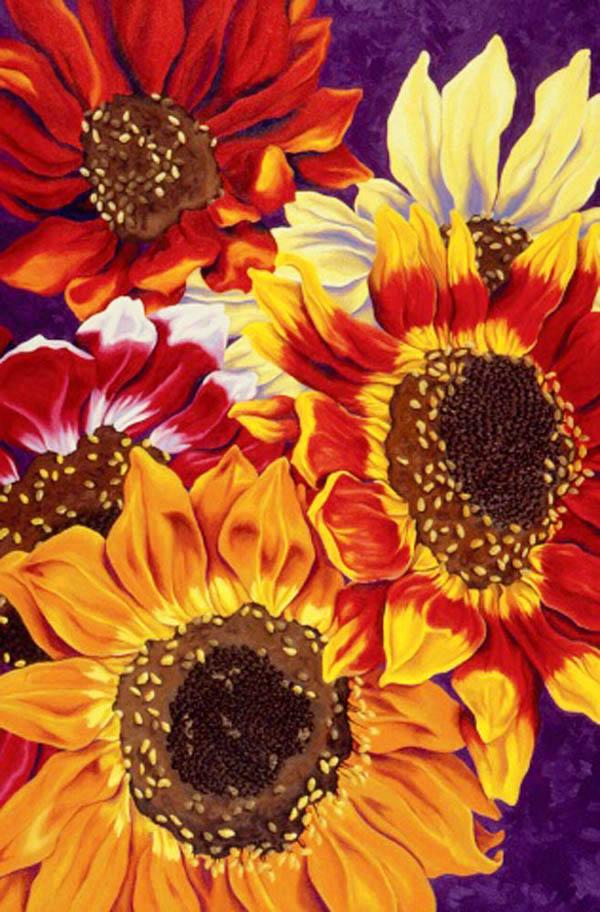 "Sunflower Fire , Oil on canvas, 36""x24"", 1994"