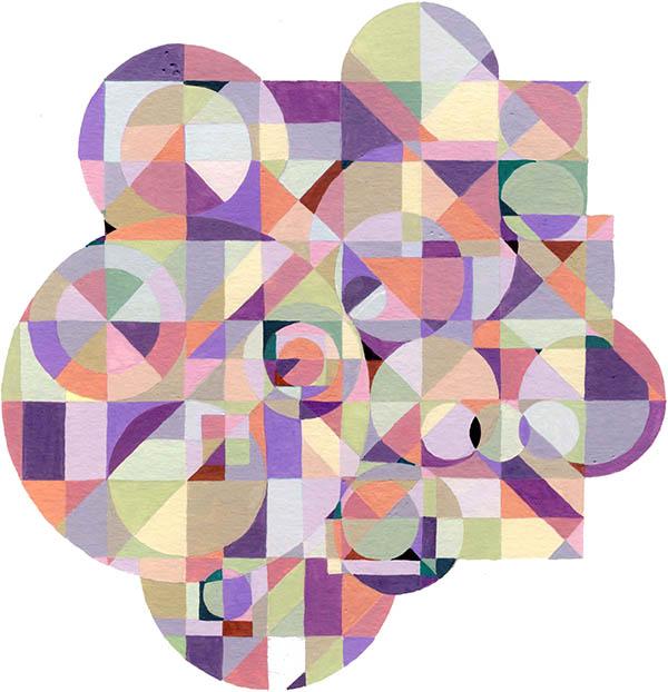 """Conversations 5 , Gouache, 6.5""""x6.25"""", $175"""