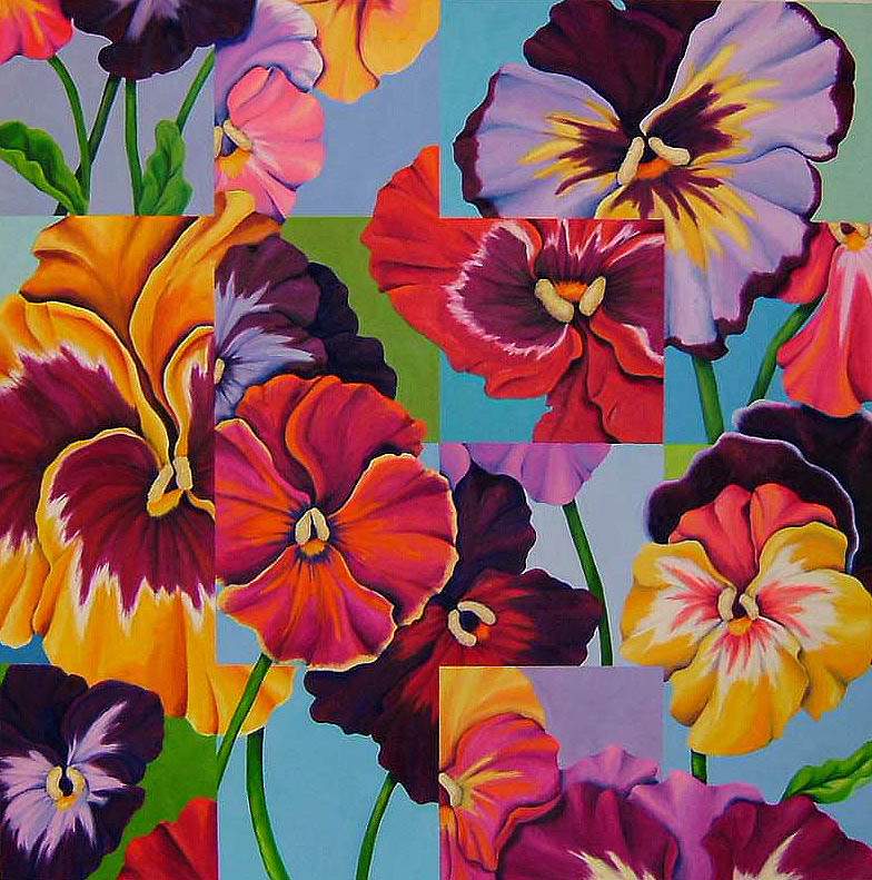 "Pansies , Oil on Canvas, 50"" x 50"""