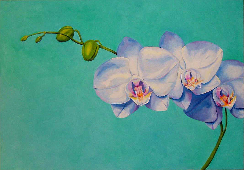 "Orchids , Oil on canvas, 28""x40"""