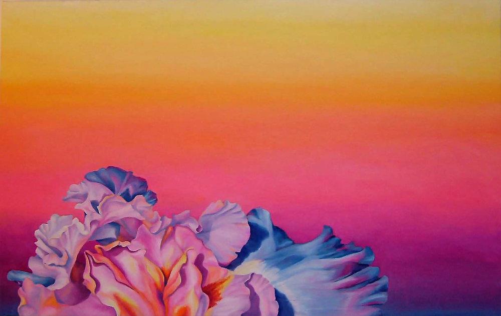 """Iris Sunset , Oil on canvas, 24""""x38"""", 2006"""