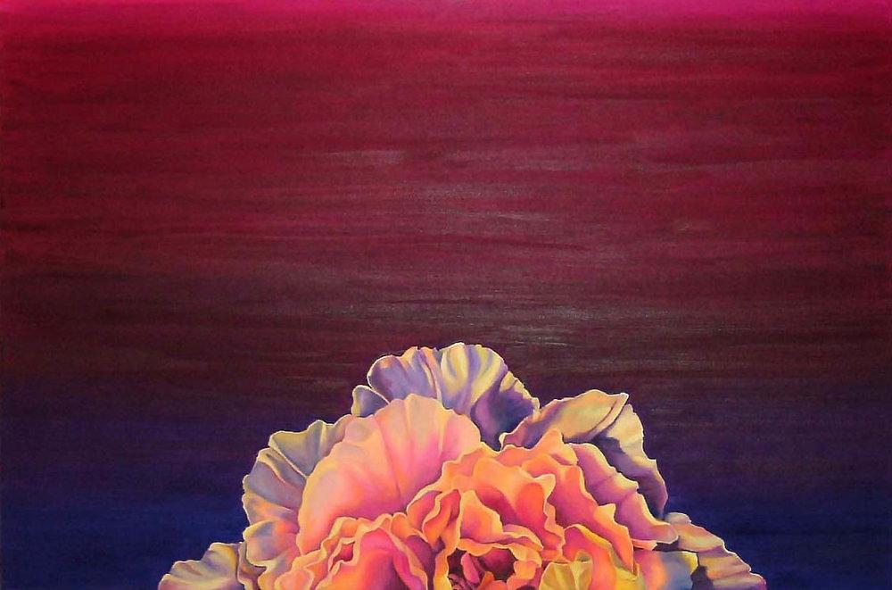 "Peony Sunset , Oil on Canvas, 24""x36"", 2006"