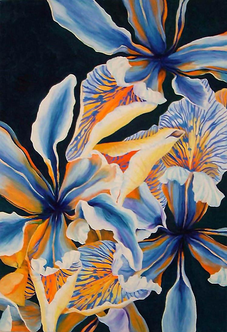 "Irises , Oil on Canvas, 32""x22"", 2005"