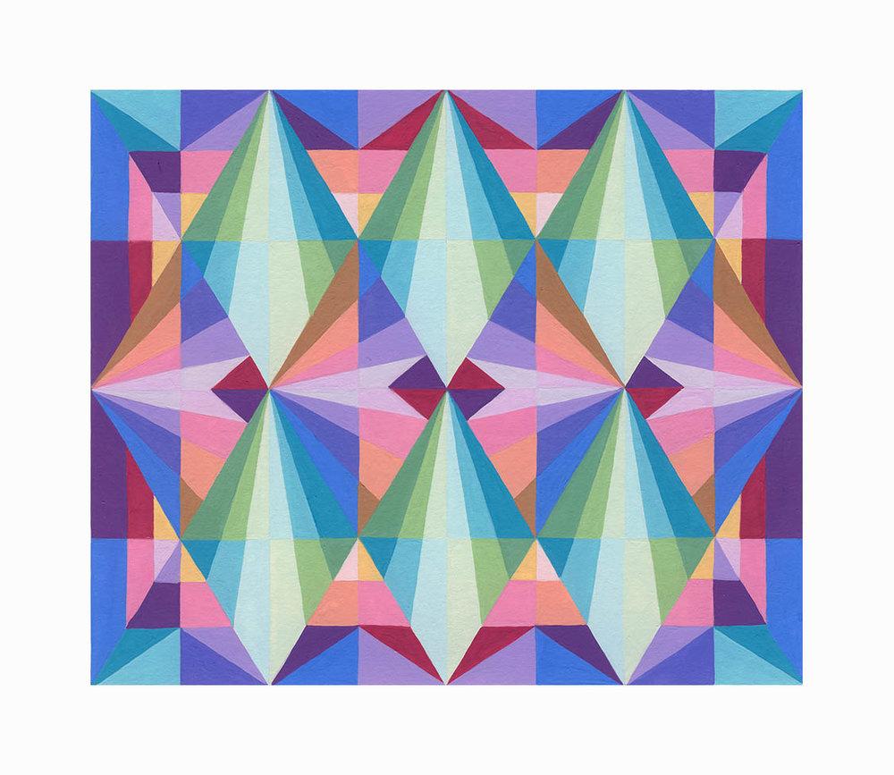"Diamond Echos 1 , Gouache5""x6"", $150"