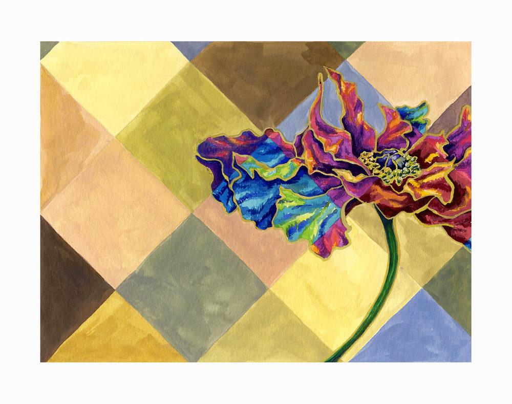 "Floral Diamond , Gouache, 6""x8"", $175"