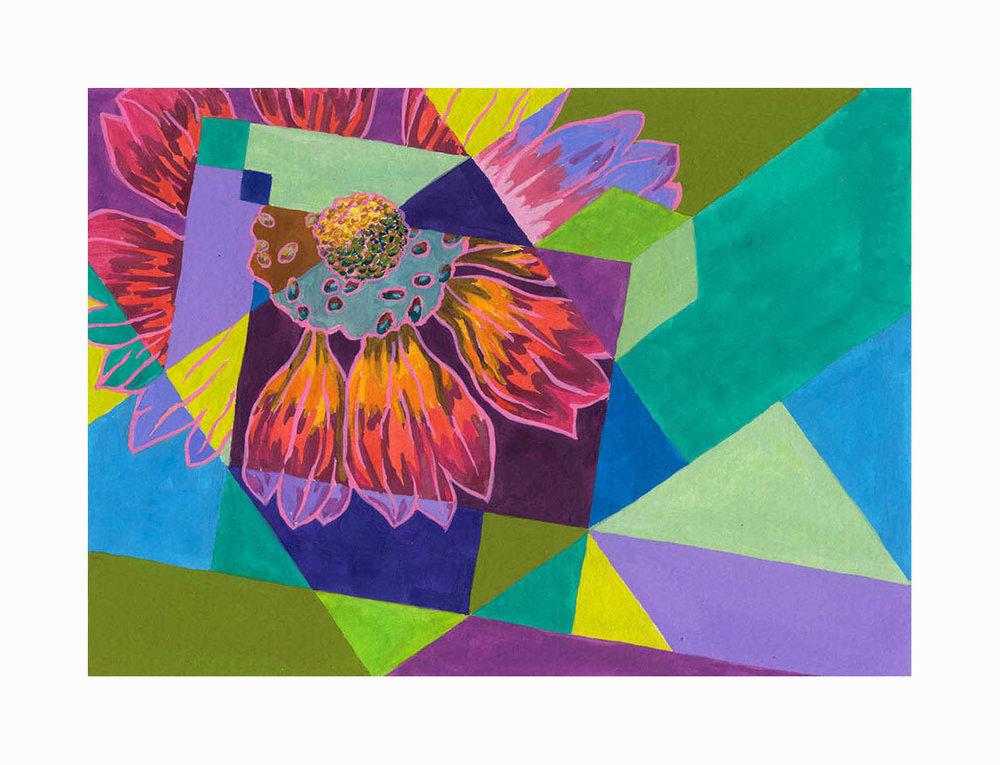 """Floral Mosaic , Gouache, 6""""x8"""", $175"""