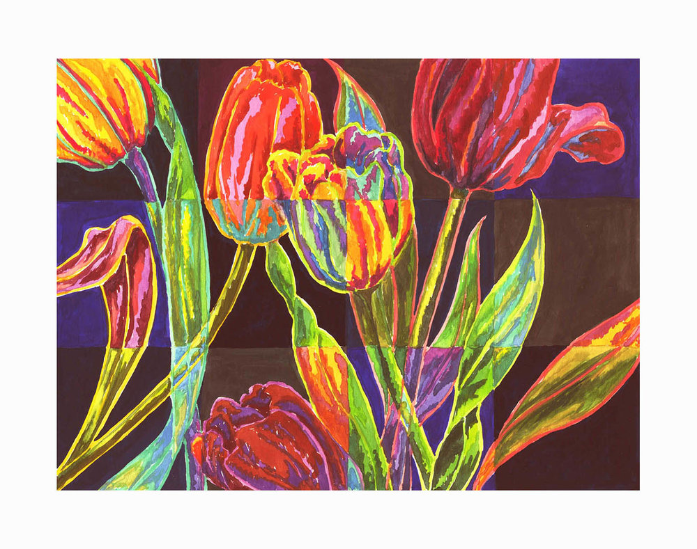 "Tulips , Gouache, 5""x7"", $175"